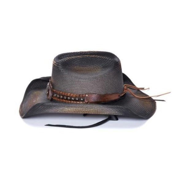 Stampede men's black western hat with bull skull concho and chin strap