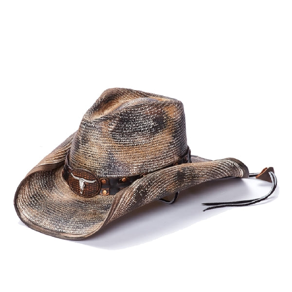 Stampede men's distressed western hat with bull skull concho and chin strap
