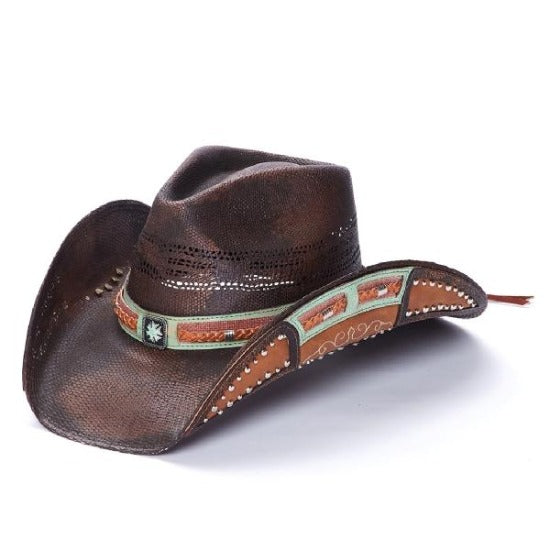 Stampede brown straw western hat accented with brown and mint-colored leather with braided leather and silver studs