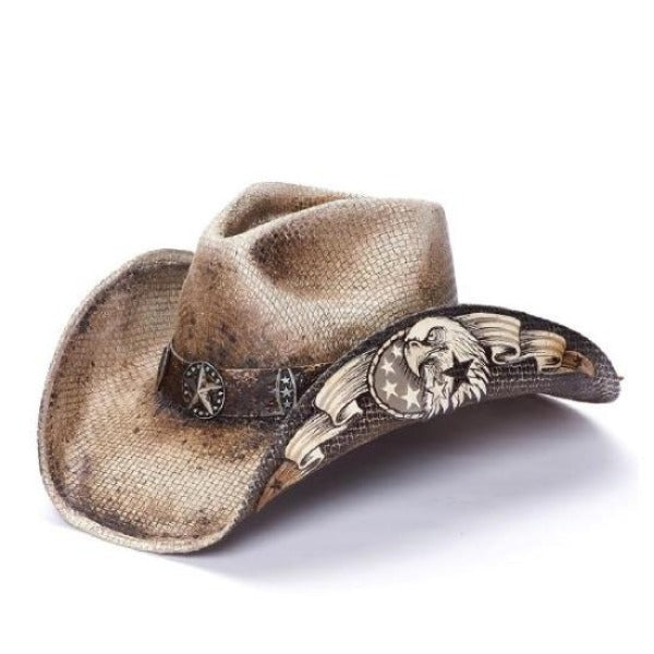 Stampede brown stained western hat with white eagle print and star concho