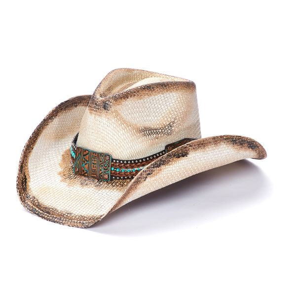 Stampede Women's cowboy hat with brown edges and turquoise band