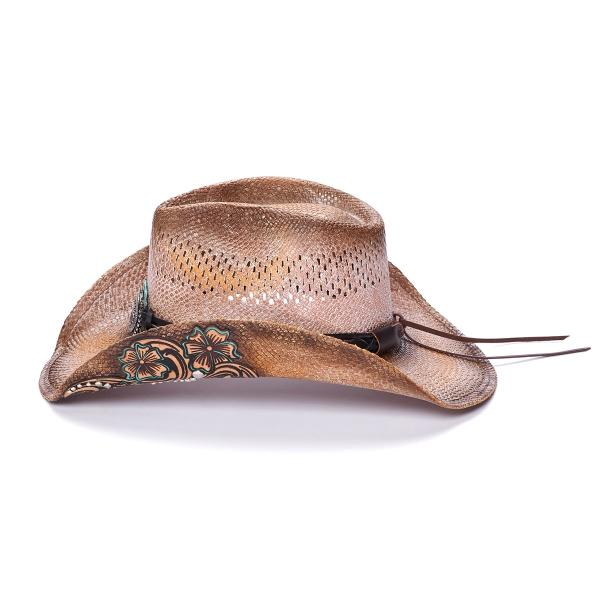 Stampede Women's Beige western straw hat with silver concho
