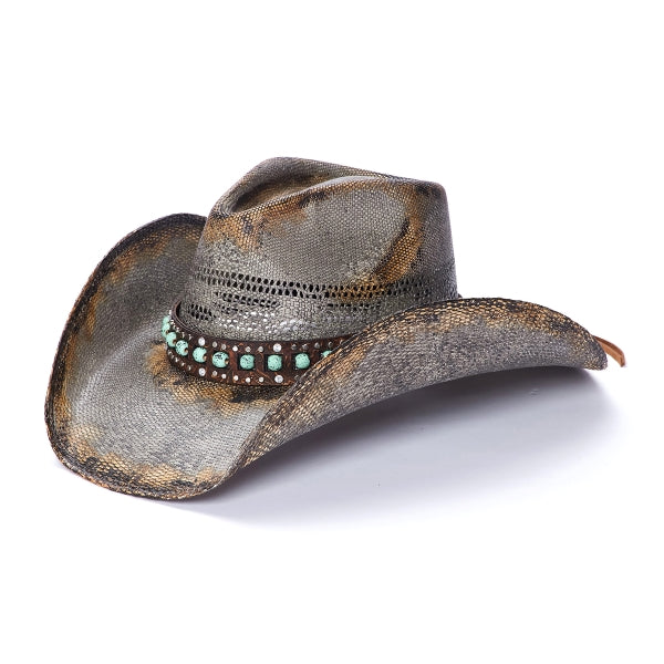 Stampede straw hat with distressed coloration and leather band filled with round mint colored beads