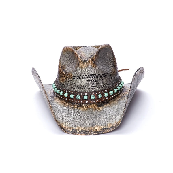 Women's Straw Distressed Cowboy Hat | Stampede | Turquoise Stone Band
