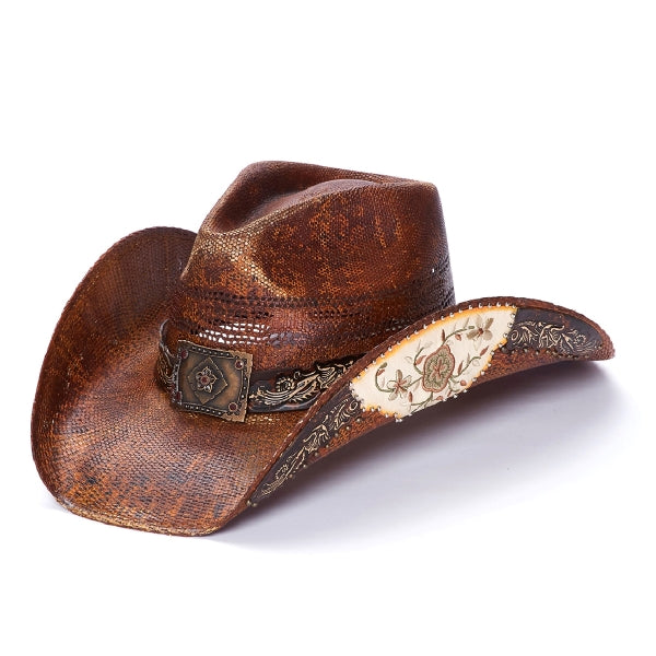 Stampede womens brown straw hat with inlaid leather and flower pattern