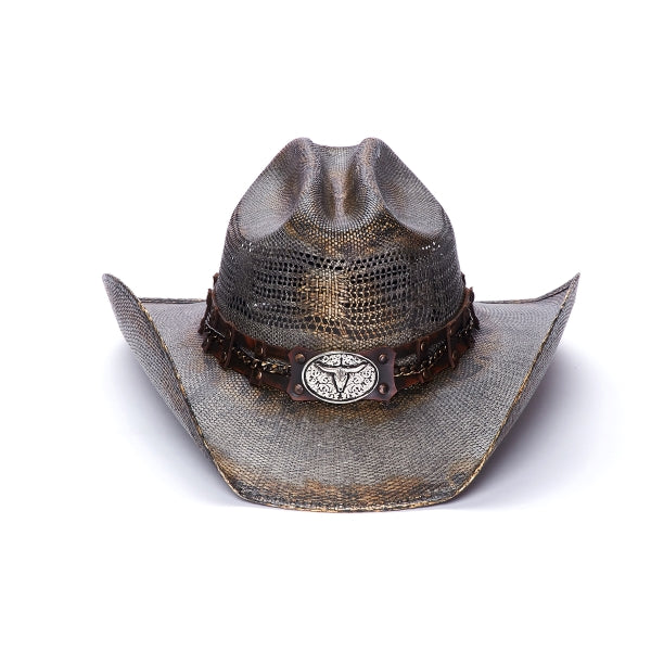 Stampede Brown men's western hat with longhorn concho and chain band
