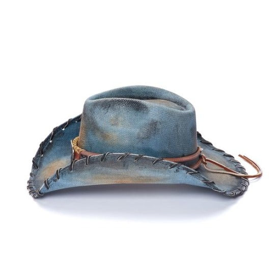 blue stained Stampede western hat with star concho