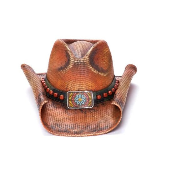 orange western stampede hat with flower concho