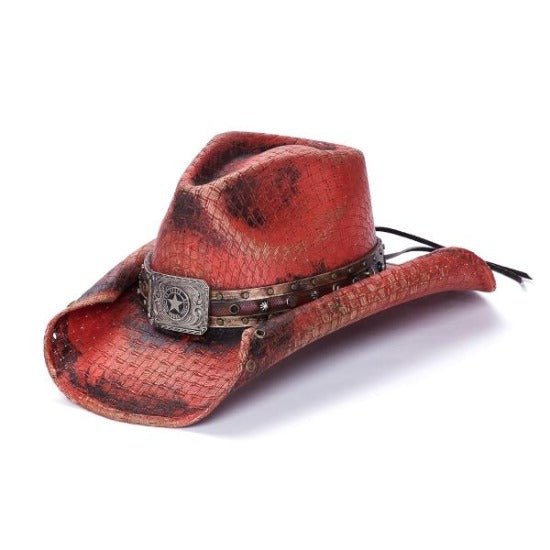 Stampede red stained cowboy hat with curled edge and star concho