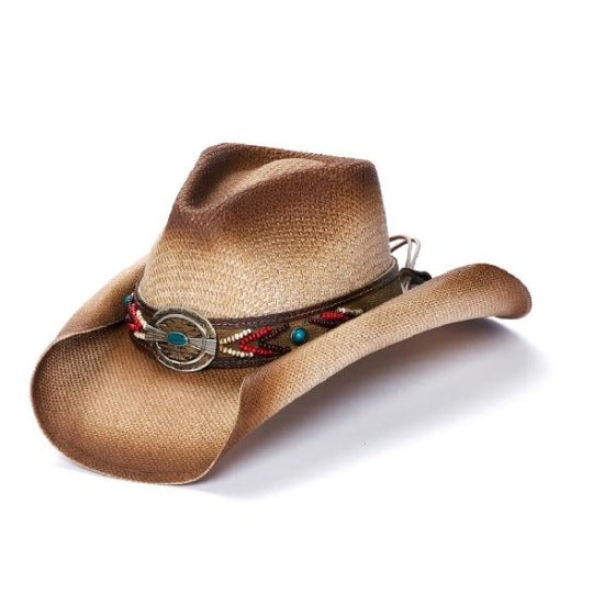Stampede Unisex western hat with colorful aztec band and curled edge