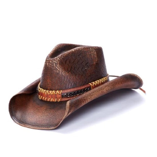 Stampede unisex chestnut brown western hat with leather band
