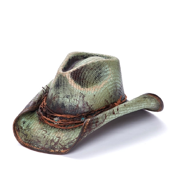 Canvas Cowboy Hat | Stampede | Rolled Brim | Green