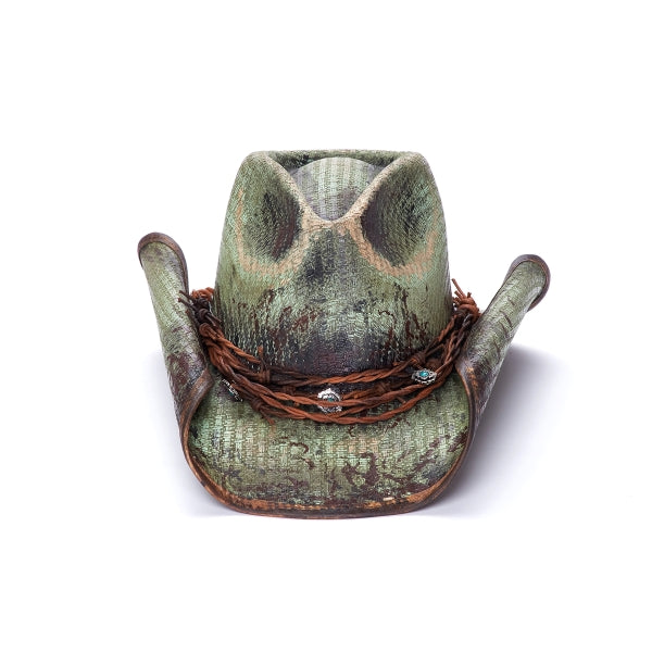 green stained western stampede hat with braided leather band