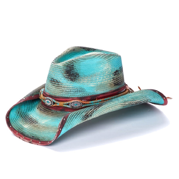Stampede western hat in turquoise blue with red trim