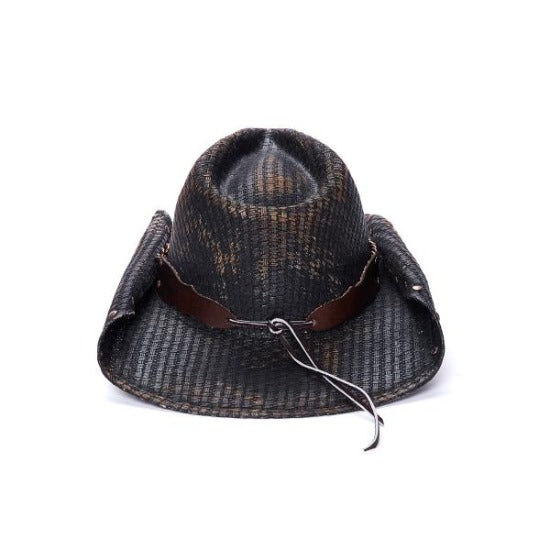 black stampede western hat with curled edge and chain band