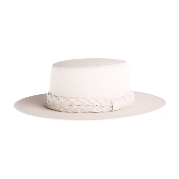 Cordobes White Vegan Leather Hat - The Palm Springs Double Braided Trim