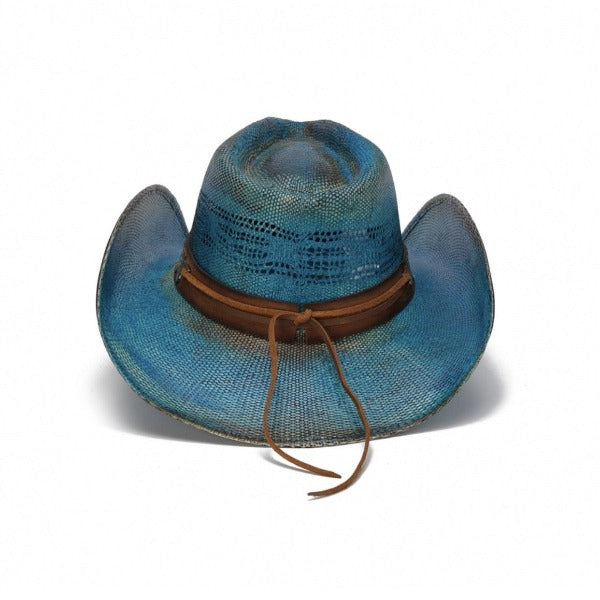 blue bangora stampede women's western hat with red roses on band