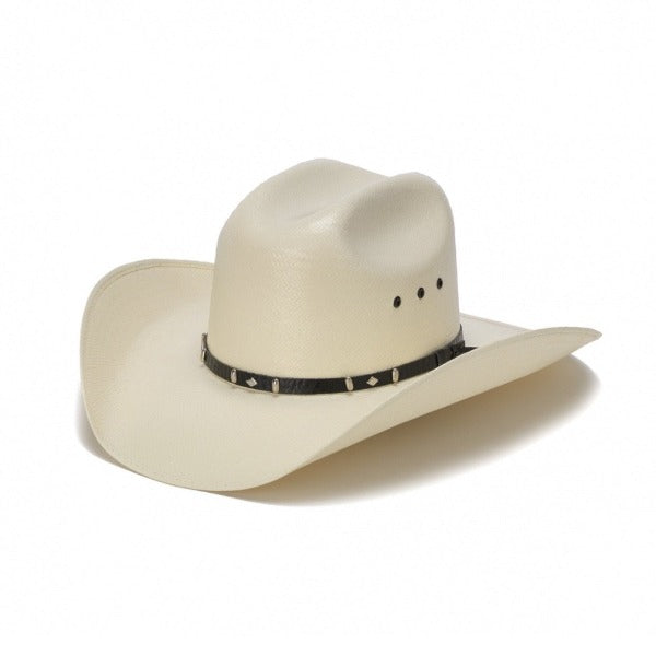 white bangora straw vented cowboy stampede hat with genuine black leather trim
