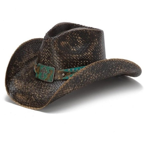Western Cowboy hat in faded black with cross concho