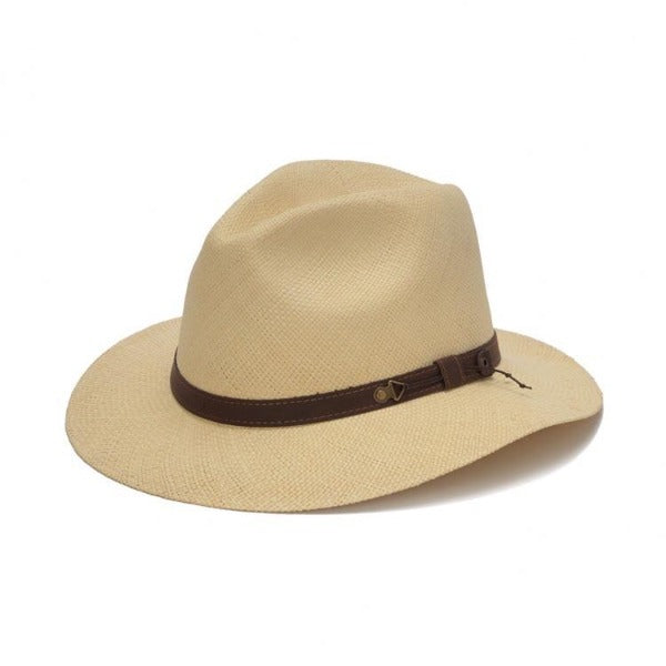 Austral beige panama hat with brown band