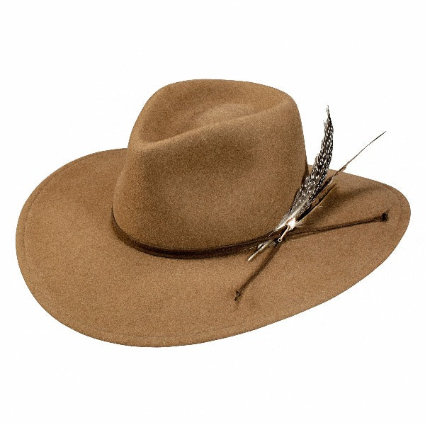stetson wool rancher hat with dark brown band and feathers