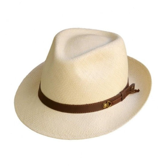 Beige fedora with brown leather band