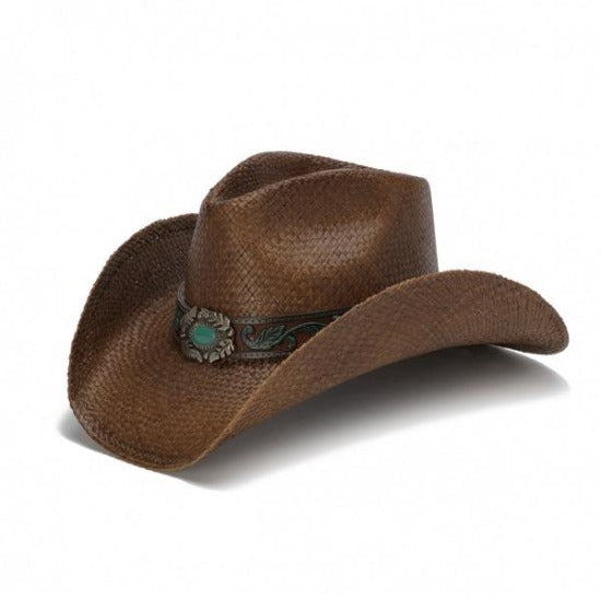 brown straw cowboy western stampede panama hat with turquoise pendant