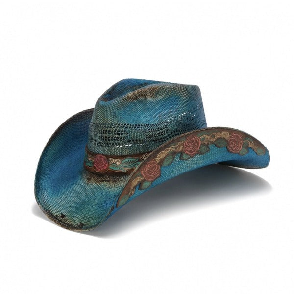 Women's Straw Cowboy Hat | Stampede | Blue | Floral Design