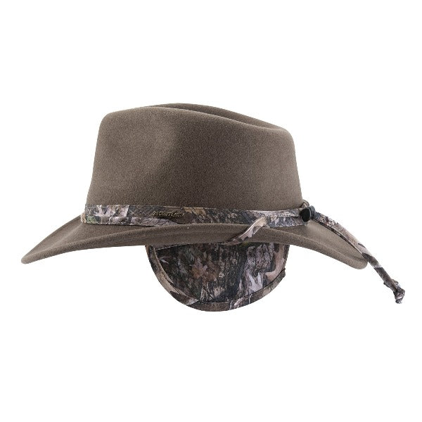 crushable wool felt hat with camo band and matching ear flap