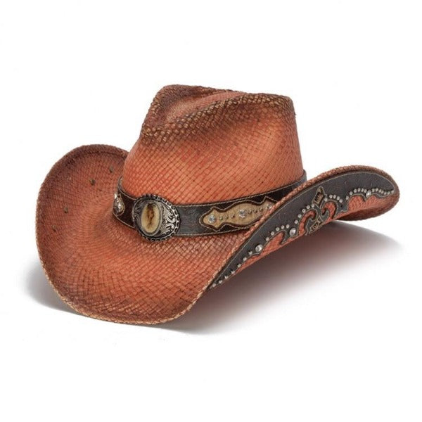 Women's Straw Cowboy Hat | Stampede | Leather Band | Orange