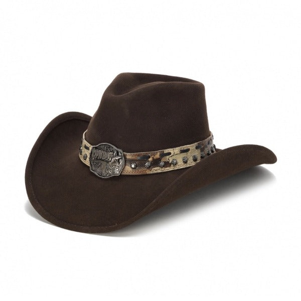 brown felt stampede cowboy hat with camo style beige belt and cowboy pendant