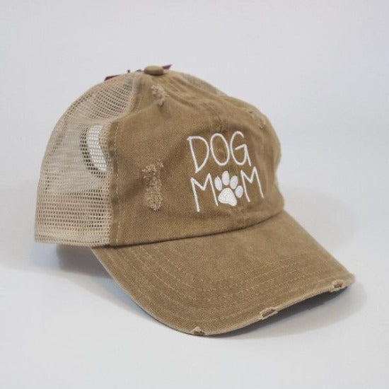 Dog Mom Mesh Ponytail Hat Khaki by David & Young Willow Lane