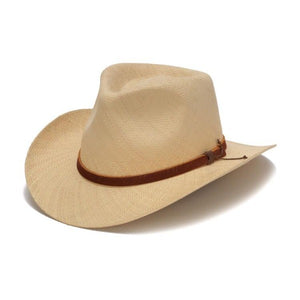 Beige western fedora with brown leather band