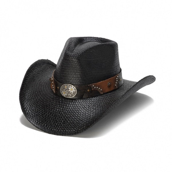 black straw genuine panama womens stampede cowboy hat with brown and black band and silver daisy pendant