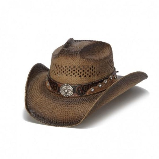 brown straw panama stampede cowboy hat with brown and black band and texas long horn pendant