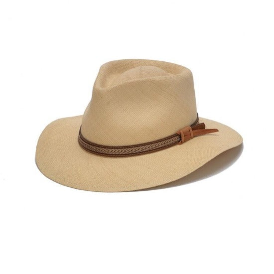 Beige staw panama hat with brown leather band