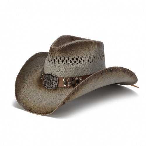 tea stained and brown tinted straw and vented stampede panama womens cowboy hat and a brown band with tacks and large buckle centerpiece with small star in the center