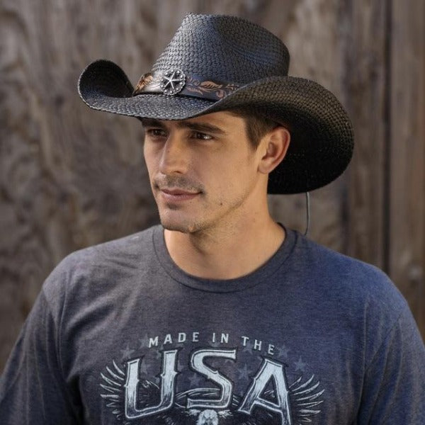 Men's Straw Cowboy Hat | Stampede | Black | Silver Star