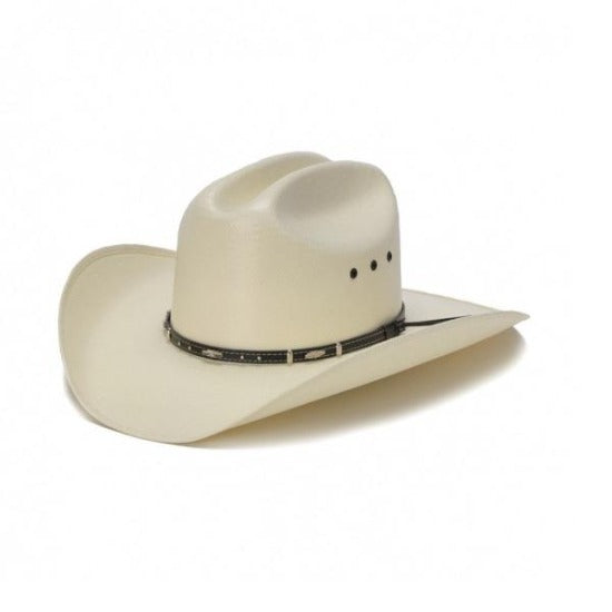 white bangora straw vented cowboy stampede hat with genuine brown leather trim