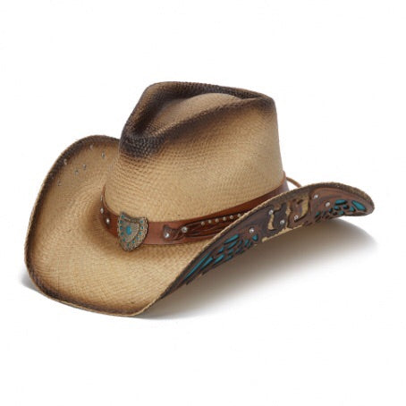 womens tea stained colored cowboy hat with turquise inlaid leather on the brim