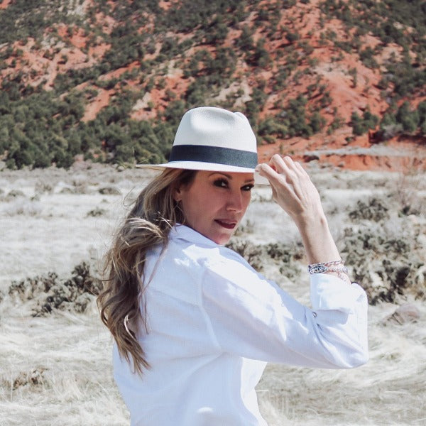 Austral White Panama Hat - The Hudson with Black Ribbon Band
