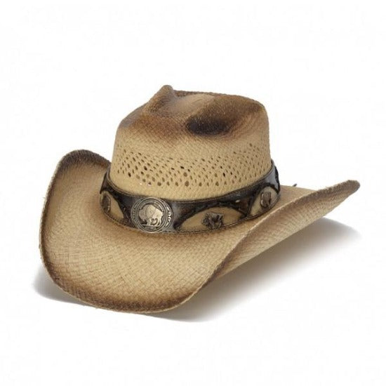 tea stained panama straw womens cowboy stampede hat with brown stained tips and buffalo pendant band hat