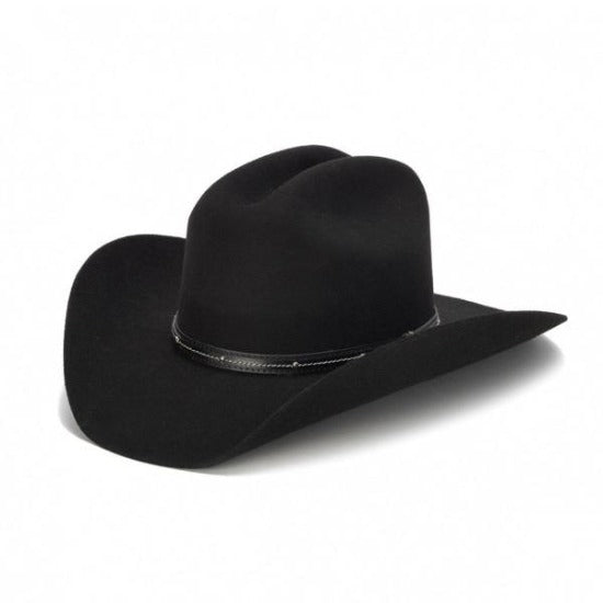 black wool felt stampede western cowboy hat with leather trim