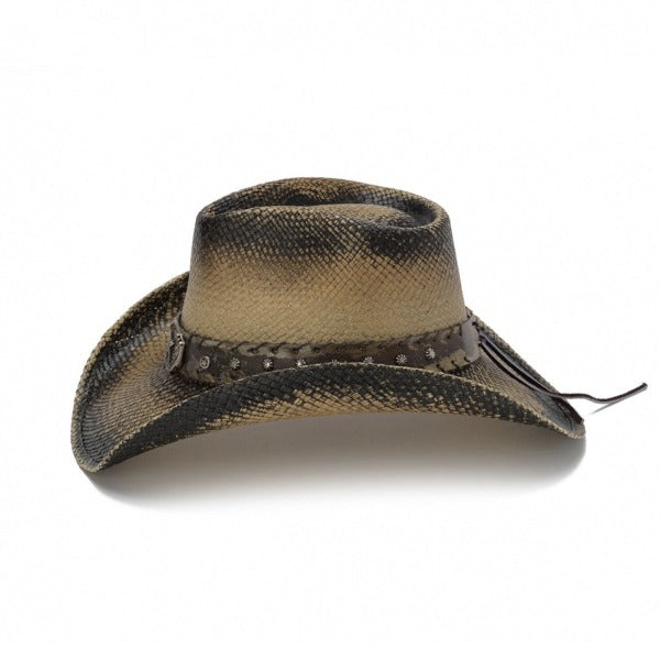 black stained western straw mens cowboy stampede hat with lone star pendant buckle and spurs