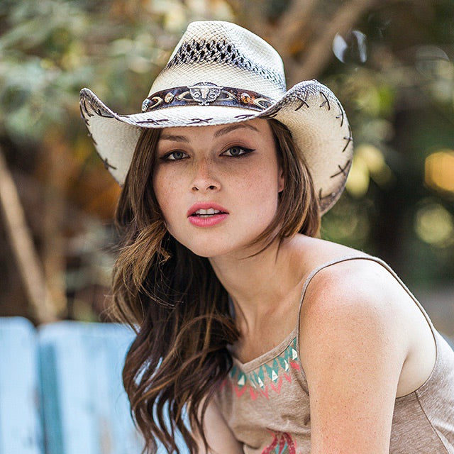 Women's Straw Cowboy Hat | Stampede | Criss Cross Stitching