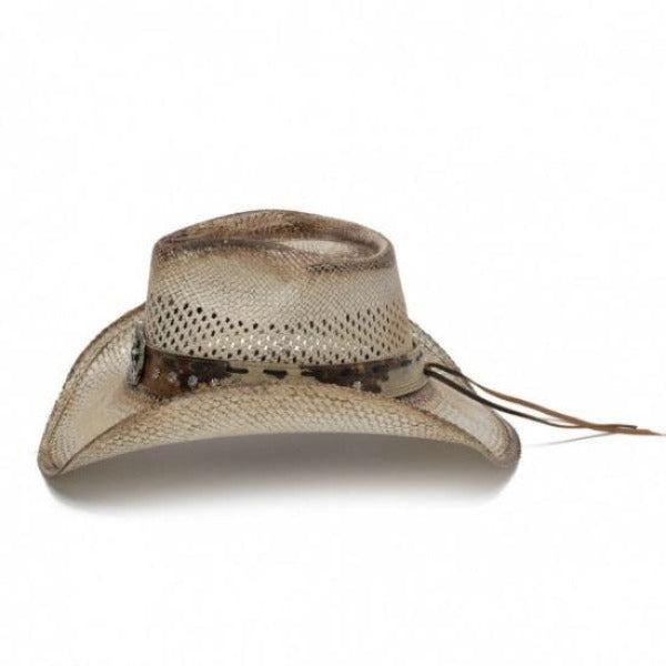 tea stained vented genuine bangora straw stampede cowboy hat with cowboy, star, and longhorn pendant centerpiece