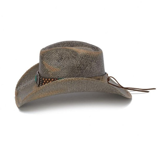 womens stampede western style hat with upturn side brim, green stone on hat band