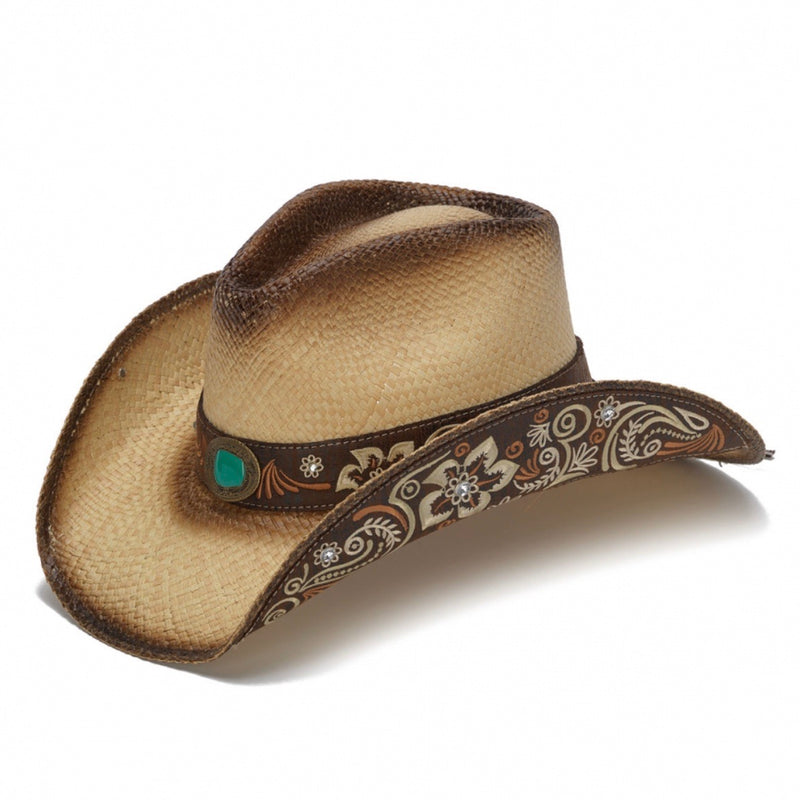 tea stained cowboy western stampede hat with turquoise rhinestone and brown and tan floral design
