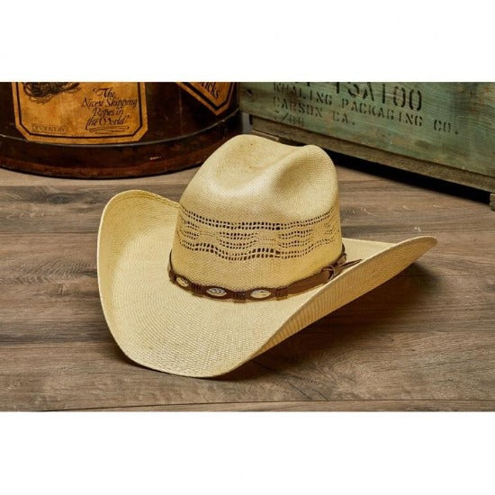 Straw Cowboy Hat | Stampede | Vented | Leather Band
