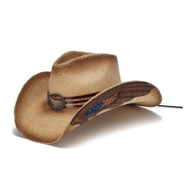 The America Stars and Stripes Stampede Straw Western Hat